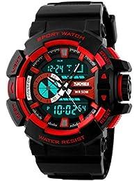 Skmei Analog-Digital Black Dial Men's Watch-1117-Red
