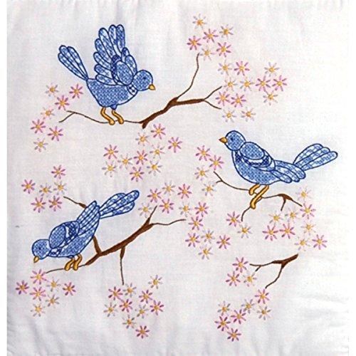 Tobin Stamped Quilt Blocks Cross Stitch Kit, 18 by 18-Inch, Blue Birds, White, 6 Per Package by Tobin -