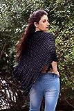Poncho da donna con scollo a V forma triangolare Capo di lana morbida rifinito con frange di col. Nero marchio MyBeautyworld24
