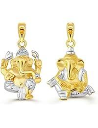Vighnaharta Lord Ganesh ji Pratima CZ Gold and Rhodium Plated Alloy Pendant Combo set for Men and Women - [VFJ1080PG]
