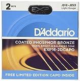 D\'Addario EXP16-2DCAPO Jeu de cordes pour Guitare acoustique 12-53 Light