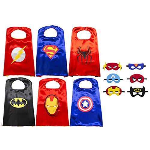 Image of Kiddo Care 6 superhero costumes, masks, capes, satin (Boys) (6 sets - Batman, superman, spiderman, ironman, captain America & Flash)
