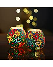 Moroccan Multicolor Flowers Glass Mosaic Candle Holder Tea