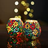 Moroccan Multicolor Flowers Glass Mosaic Candle Holder, Tea Light Holder Votive, Set of 2