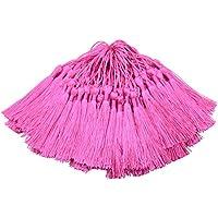100pcs 13cm / 5 Pulgadas de Seda Sedoso Marcador de Borlas con 2-Inch Cord Loop y Pequeño Nudo Chino para la Fabricación de Joyas, Recuerdo, Marcadores, Accesorio del Arte de Bricolaje (Rosa Oscuro)