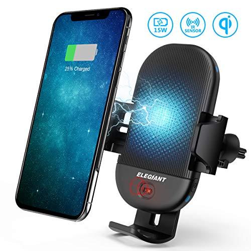 ung Auto Wireless Charger Qi KFZ Handyhalter mit Infrarot Sensor Handy Halterung Induktions Ladegerät 15W MAX mit Lüftungshalterung für Galaxy iPhone alle Qi Fähige Geräte ()