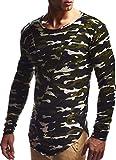 LEIF NELSON Herren Pullover Hoodie Kapuzenpullover Sweatjacke Longsleeve Sweatshirt Jacke Basic Rundhals Langarm Oversize Shirt Hoody Sweater LN6298; Größe L; Camouflage