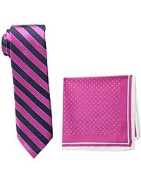 Steve Harvey Men's Tall Extra Long Satin Stripe Woven Necktie and Dot Pocket Square