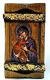 IconsGr Greek Orthodox Christian Icon of Jesus Christ and the Virgin, Wood, Handmade / MP3_1