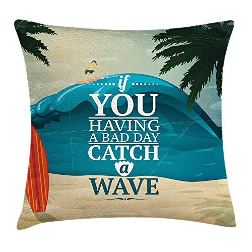 Trsdshorts Quote Throw Pillow Cushion Cover, Motivational Surfing Themed Catch a Wave Slogan with Tropical Beach and Long Board, Decorative Square Accent Pillow Case, 18 X 18 inches, Multicolor (Halloween Catch Candy)