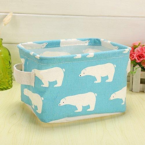 Doitsa Caja de almacenamiento Cesta de recogida de ropa Cosméticos Papelería Ropa Interior Juguetes Caja de acabado de escritorio Caja de almacenamiento cosmética Azul