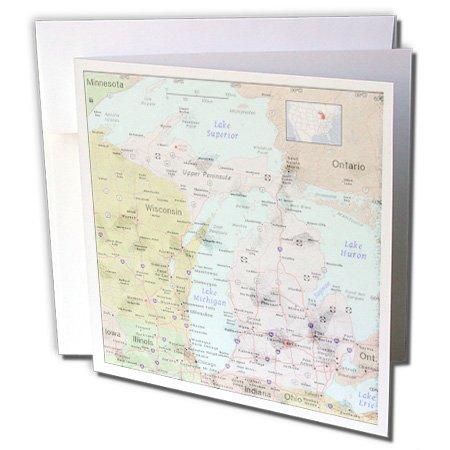 3drose Print of State Karte von Michigan mit Städte–Grußkarten, 15,2x 15,2cm, Set 12(GC _ 183740_ 2) - Personalisierte State Map