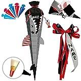 alles-meine GmbH BASTELSET - 3D Effekt - Schultüte + 5 kleine Zuckertüten -  Fisch - Hai Happen - Fische  - inkl. individuelle große Schleife + Name - 85 cm - mit Holzspitze..