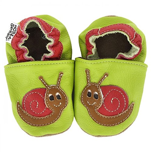 HOBEA-Germany Krabbelschuhe in verschiedenen Farben und Designs mit Tieren, Schuhgröße:16/17 (0-6 Monate);Modell Schuhe:Schnecke