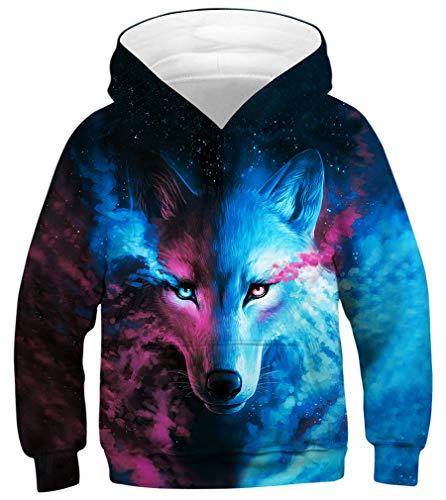 Leslady Jungen Kapuzenpullover 3D Galaxy Digitaldruck Hoodie Langarmshirt Pullover Sweatshirts mit Kapuze - Kinder-erwachsenen-sweatshirt Mit Rundhalsausschnitt