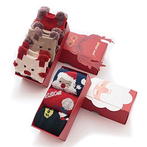 (6 Pares) LIKERAINY Calcetines de Navidad para Niños, Algodón Calcetines Niños, Chicos Chicas Calcetines Regalos de Navidad, Ideal para Niños con 3-6 años, (Personaje de Santa Claus y Elk),Unisex