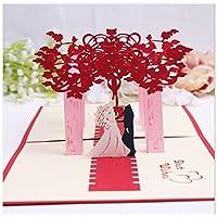 BC Worldwide Ltd Handmade 3D pop-up card vintage paese villaggio romantico rosa fiore navata sposo e sposa cerimonia nuziale grande giorno invito regalo San Valentino fidanzamento matrimonio anniversario matrimonio proposta