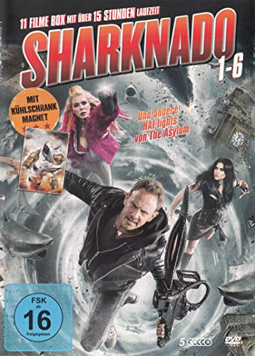 Sharknado Teil 1-6 - die komplette Serie & Kühlschrankmagnet - 5DVD Box