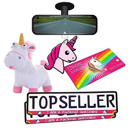 Einhorn Unicorn Set XXL Pink Kennzeichenhalter Plüschtier Schokolade Duftbaum