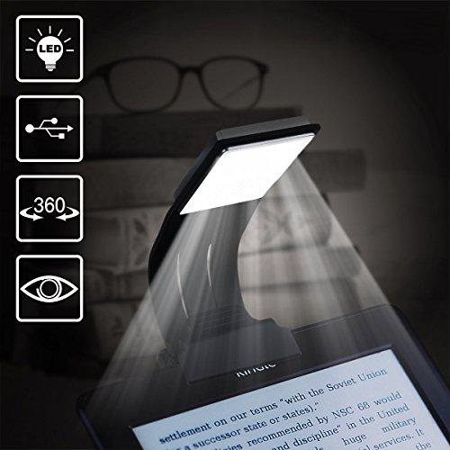 Clip On Book Light, Towinle LED eBook lettura luce e segnalibro, USB ricaricabile e clip flessibile libro luci, luminosità regolabile 4-grade lampada da lettura
