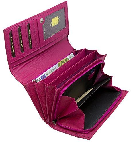 Mädchen Echte Leder (Damen Geldbörse Leder Lang mit viele Kreditkarten Fächer Frauen Portemonnaie Portmonee Echtleder Geldtasche Brieftasche Franko BB12 (Nur Pink))