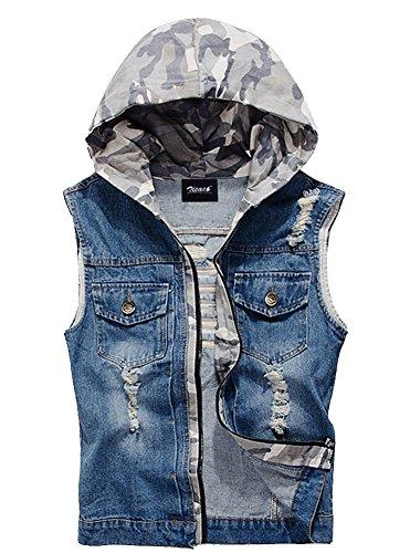 Zicac Herren Weste Jeansweste Beiläufige Denim jacke Kapuzenjacke Blau