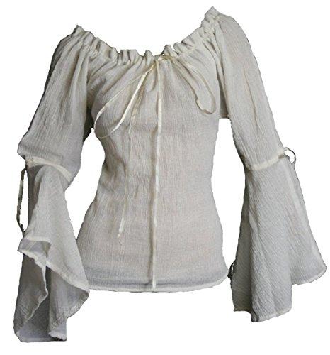 Dark Dreams Gothic Mittelalter LARP Bluse Ylenia, Farbe:weiss, (Kostüme Satin Piraten Shirt)