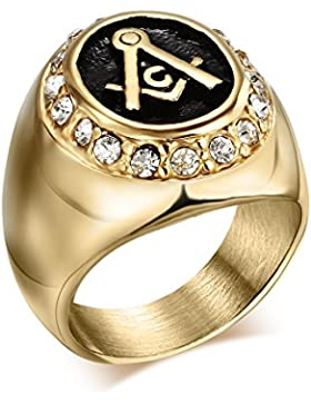 Heyrock Gold Plated Stainless Steel Freemason Ring Men Iced Uut Bling Crystals Masonic Rings