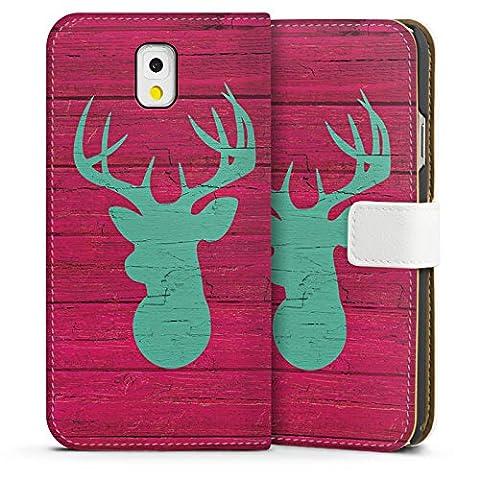 Samsung Galaxy Note 3 Tasche Hülle Flip Case Hirsch Holz Sommer Trend