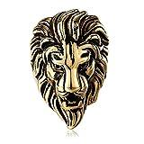 AnazoZ Bague Tête de Lion Gotique Acier chirurgical 316L Anneau Homme Métal Lourd Punk Or/Argent/Noir
