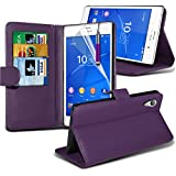 GAPlus� Sony Xperia Z3 Compact - Genuine PU Leather Flip Wallet Slim Case Cover Pouch With Card Holder + Free Screen Protector With Polishing Cloth & Stylus Pen (Purple Wallet)