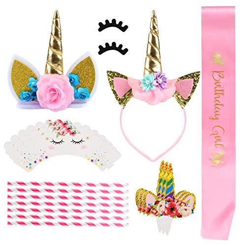 Gwhole decorazioni torte, unicorno toppers torta cake topper, decorazioni per feste di compleanno, matrimonio e baby shower