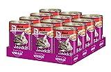 Whiskas Katzen-/Nassfutter Adult 1+ für erwachsene Katzen mit Rind in Terrine, 12 Dosen (12 x 400 g)