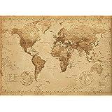 Carte du monde style antique world map antique format dimensions :  140 x 100 cm