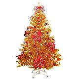 Hiskøl 150 cm ca. 450 Astspitzen Künstlicher Weihnachtsbaum Tannenbaum Christbaum inklusive Christbaumständer, gold mit Dekoration