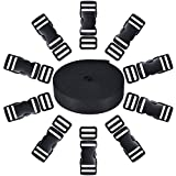 Shappy 10 Set Black Plastic 1 Inch Flat Side Release Buckles and 10 Pieces Tri-glide Adjustment Clips Compatible with 1 Roll 1 Inch Wide 10 Yards Black Nylon Webbing Strap