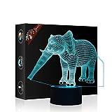 Elefant Geschenk Nachtlicht 3D neben Tischlampe Illusion, Jawell 7 Farben ändern Touch Switch Schreibtisch Dekoration Lampen Geburtstag Weihnachtsgeschenk mit Acryl Flat & ABS Base & USB Kabel
