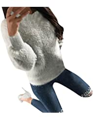 Tricot Chandail,LMMVP Femmes Col Rond Manches Longues Sexy Laine Chandail Pull Tops (M, gris)