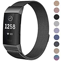 Milanese Mesh Metal Bands Compatible for Fitbit Charge 3 / Charge 3 SE Bands Women Men Small/Large, Replacement Stainless Steel Accessory Watch Wrist Straps (Large, Black)