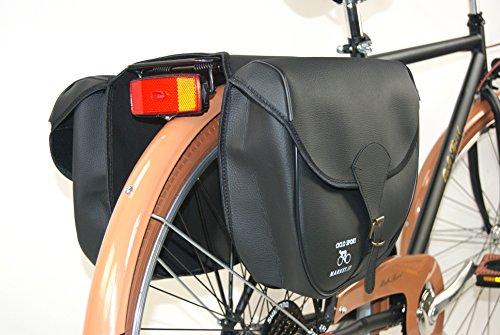 """Tasche DOPPEL hinten SIMIL LEDER - Öko-Leder """"DIEFFE"""" ideal fahrrad Vintage - Gestängebremse - City Bike - Graziella Modell 8"""