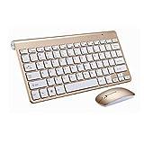 Kabelloses Tastatur und Maus Set,KINGCOO Geräuscharme ultradünne Mini 2.4G Wireless Desktop Kabeltastatur und Einstellbare 800/1200/1600 DPI Mouse Combo fürLaptop Tablet und Smart TV (Gold)