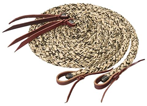 Weaver Leather Silvertip Hollow Braid Split Rein, Tan/Black/Brown, 5/8-Inch x 8-Feet