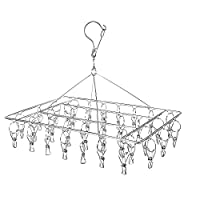Qualsen Stainless Steel Hanging Drying Rack Portable Clip and Drip Hanger with 36 Metal Clothespins for Drying Socks, Baby Clothes, Cloth Diapers, Bras, Towel, Underwear, Hat, Scarf (Rectangle)