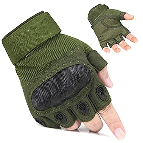 Kinnor Outdoor Half-finger Finger less Anti-slip Air soft Hunting Riding Cycling Gloves Sports Finger less Gloves(Army Green,L)