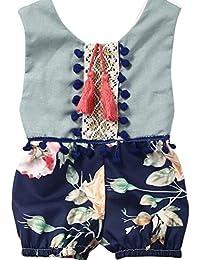 SMARTLADY Verano sin mangas Romper Niñas Bebé Jumpsuit ropa Vestido de floral