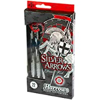 Harrows Eric Bristow Silver Arrows Steeltip Chrome Brass Dart - Plata, 22g