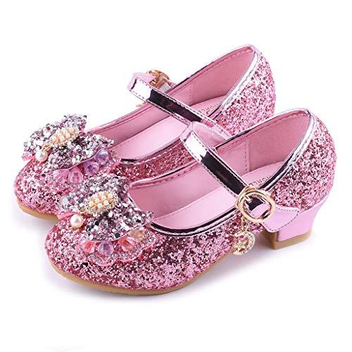 Innerternet scarpe per bambina con gioiello, tacco medio primi passi sposa estivi cerimonia principessa scarpette classica casual primaverili mocassini strass