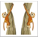 Tickles Monkey Soft Stuffed Toy Curtain Holder Clip, 28cm (Brown, AT-A087)