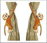Tickles Brown Monkey Soft Stuffed Toy Curtain Holder Clip for Living Room