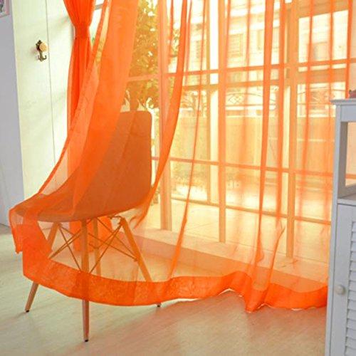 Hirolan 2 STÜCKE Pure Color Tüll Türfenstervorhang Drapieren Panel Sheer Schal Volants Voile Vorhang Farbverlauf Transparent Gardinenschal mit Ösen (Sheer Panel-vorhang Mit Volant)